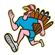Runner Posters - Turkey Run Runner Side Cartoon Isolated Poster by Aloysius Patrimonio