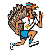 Runner Posters - Turkey Run Runner Thumb Up Cartoon Poster by Aloysius Patrimonio