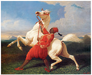 White Stallion Posters - Turkish Groom Holding an Arab Stallion Poster by Carle Vernet