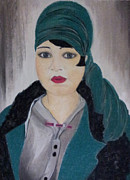 Fabric Pastels Prints - Turkish Lady from 1920 Print by Serran Dalmak