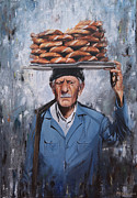 Turkish Paintings - Turkish Street Seller by Carol Bostan