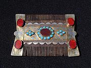 Silver Turquoise Jewelry Originals - Turkoman silver comb adorned with turquoise and carnelian stones.  by Turkoman silversmith master