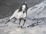 Horses Posters Painting Posters - Turn left Poster by Janina  Suuronen