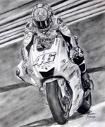 Motogp Prints - Turn one Print by Indaguis Montoto