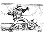 Mlb Baseball Drawings - Turn Two by Calvin Durham