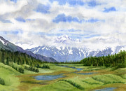 Kenai Peninsula Prints - Turnagain Pass Mountain View Print by Sharon Freeman