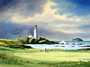 Golf Players Paintings - Turnberry Golf Course Scotland 10th Green by Bill Holkham