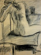 Charcoal Nude Drawings Posters - Turning Beauty Poster by Kendall Kessler