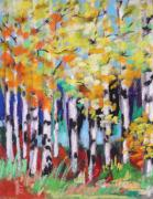 Print On Paper Pastels Posters - Turning Birches Poster by John  Williams