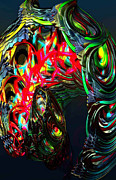 Trippy Digital Art Originals - Turning Within by Josh Hamby