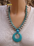 Young Jewelry Originals - Turquoies Beads And Spaikes Necklace by  Nurit Schlomi Von-staruss