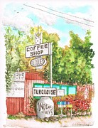 Turquois Prints - Turquois Coffee Shopp in Three Rivers - California Print by Carlos G Groppa