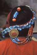 Coral Dress Art - Turquoise and Coral Hair Piece - Lhasa Tibet by Craig Lovell
