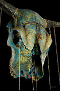 Photographs Mixed Media - Turquoise and Gold Illuminating Steer Skull by Mayhem Mediums