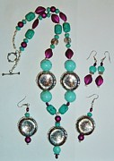 Long Necklace Jewelry - Turquoise and Purple 2pc SET by Sharon Leigh