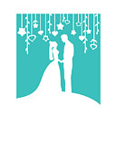 Engagement Digital Art Prints - Turquoise Bride and Groom Print by Li Or