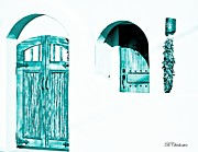 Ristra Digital Art - Turquoise Doors and  Ristra by Barbara Chichester