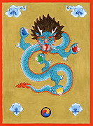Tibetan Art Paintings - Turquoise Dragon by Ies Walker