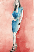 High Fashion Prints - Turquoise Dress Watercolor Fashion Illustration Print by Beverly Brown Prints