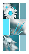 Assorted Digital Art Posters - Turquoise Flowers Collage Poster by Christina Rollo