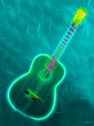Music Lovers - Turquoise Neon Guitar by Hanza Turgul