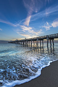 Spring Scenes Posters - Turquoise Seas at the Pier Poster by Debra and Dave Vanderlaan
