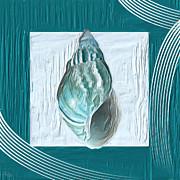 Turquoise Seashells Xx Print by Lourry Legarde