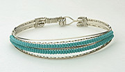 Hand Crafted Paintings - Turquoise seed bead braceletq by Alicia Short