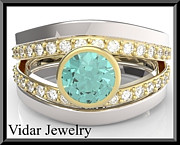 14k Jewelry - Turquoise Tourmaline And Diamond Wedding Ring And Engagement Ring Set by Roi Avidar