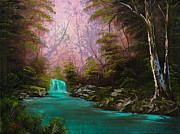 (bob Ross) Posters - Turquoise Waterfall Poster by C Steele