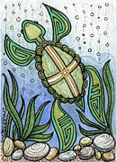 Hopi Mixed Media Prints - Turtle 3 - ACEO Print by Dalton James