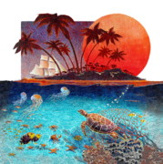Tropical Islands Posters - Turtle and Jelly Soup Poster by David  Chapple
