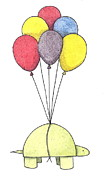Red Balloons Prints - Turtle Balloon Print by Christy Beckwith