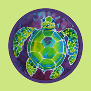 Survival Mixed Media Prints - Turtle Bubble on Sherbert Ocean Print by Kelly     ZumBerge