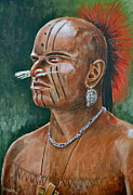 Revolutionary War Painting Originals - Turtle Clan Warrior by Dave Hasler