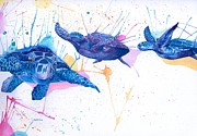 Splatter Drawings - Turtle Flight by Hannah Circenis
