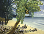 Caribbean Sea Paintings - Turtle Hatchlings by SCWarren