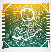 Ink Reliefs Originals - Turtle in the Sun by Sarah Reed