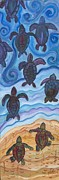 Sea Turtles Paintings - Turtle Journey by Bev Veals