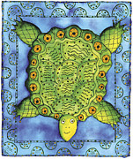 Sea Shell Art Mixed Media Prints - Turtle Print by Julie Nicholls