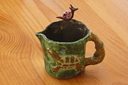 Tree Ceramics Originals - Turtle Loon pink snail sweet Pitcher4 by Debbie Limoli