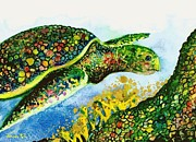 Hawaii Sea Turtle Paintings - Turtle Love by Frances Ku
