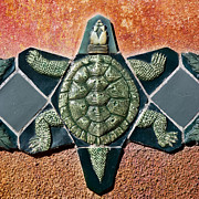 Mosaic Photos - Turtle Mosaic by Carol Leigh