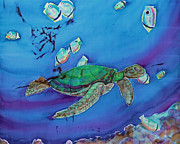 Reptiles Tapestries - Textiles Metal Prints - Turtle Neck Metal Print by Kelly     ZumBerge