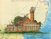 East Coast Lighthouse Paintings - Turtle Rock Lighthouse PA Chart Map Art  by Cathy Peek