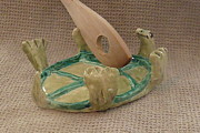 Featured Ceramics Originals - Turtle Spoon Rest Ive fallen and cant get up by Debbie Limoli