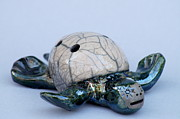 Animals Ceramics Posters - Turtle Whistle Poster by Chip VanderWier