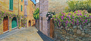 Top Seller Paintings - Tuscan Alley by Marguerite Chadwick-Juner
