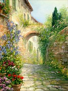 Antonietta Varallo - Tuscan alley with flowers