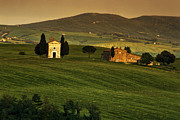 Tuscan Chapel And Farm Print by Andrew Soundarajan